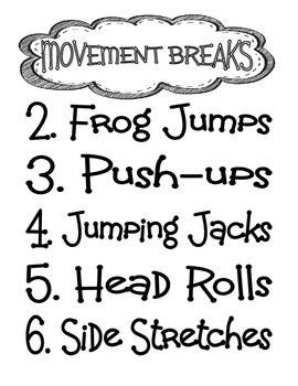Movement Breaks FREEBIE