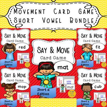 Movement Card Game Short Vowel Word Bundle