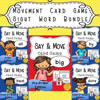 Movement Card Game Sight Word Bundle
