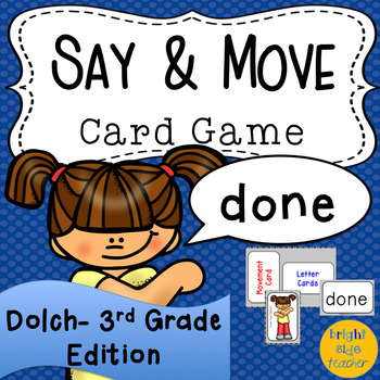 Movement Card Game for Dolch Third Grade Sight Words