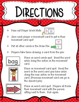 Movement Card Game for Short E Decodable Words