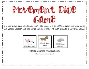 Movement Dice Game- Brain Break!