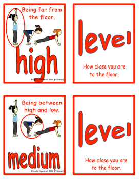 Movement Flash Cards Levels