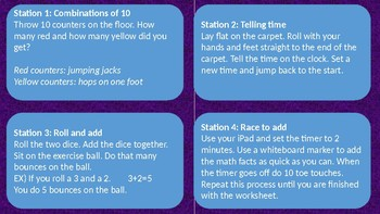 Movement Math Stations for First Grade