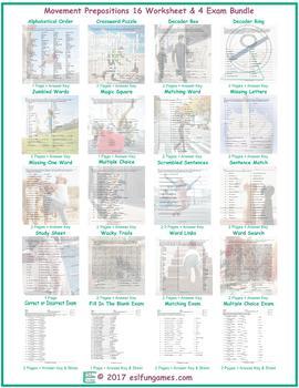 Movement Prepositions 16 Worksheet- 4 Exam Bundle