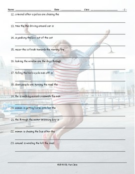 Movement Prepositions Scrambled Sentences Worksheet