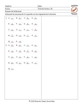 Movement Prepositions Spanish Matching Exam