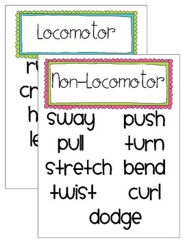 Movement Skills Classroom Visuals- Locomotor/Non-Locomotor