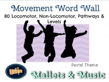 Movement Word Wall - Locomotor, Non-Locomotor & More -Pastel Colors