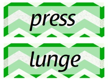 Movement Words for Music, Dance, or Movement - GREEN Chevron