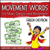 Movement Word Wall for Music, Dance, or Movement - Green Chevron