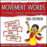 Movement Word Wall for Music, Dance, or Movement - Red Chevron