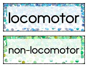 Movement Words for Music, Dance, or Movement - locomotor/non-locomotor Confetti