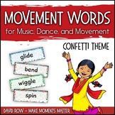 Movement Word Wall for Music, Dance, or Movement - Confetti Theme
