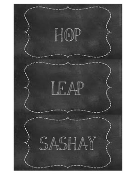 Movement Words (for bulletin board or flash cards) in Chalkboard Style