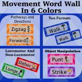 Movement Wordwall Multi-Color: Locomotor, Non-Locomotor, Directions and Pathways