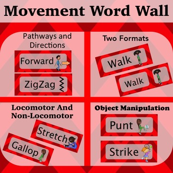 Movement Wordwall Red: Locomotor, Non-Locomotor, Directions and Pathways
