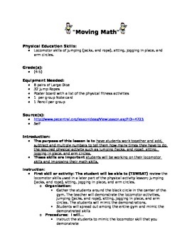 Movement and Math Lesson Plan 2