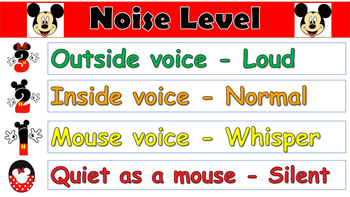 Movement and Noise Level Charts Mickey Mouse