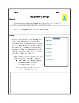 Movement of Energy NGSS Mini-Unit (Modified)