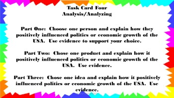 Movement of People, Products & Ideas Impact Politics & Economy Task Cards