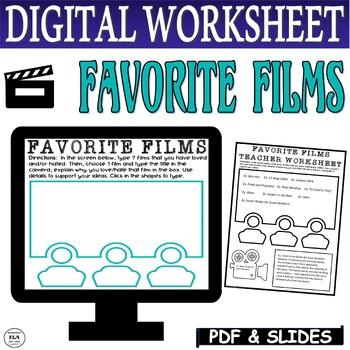Distance Learning Movie Activities Favorite Film Analysis FREEBIE Worksheet
