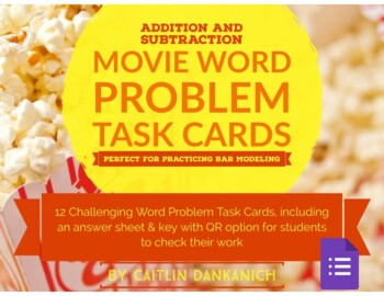 Bar Modeling Addition & Subtraction Word Problems- Movie Theme!