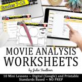 Movie Analysis Worksheets, Printable and Digital