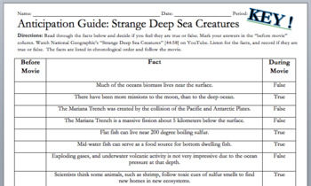 "Movie Anticipation Guide ""Strange Deep Sea Creatures"" National Geographic w/KEY"