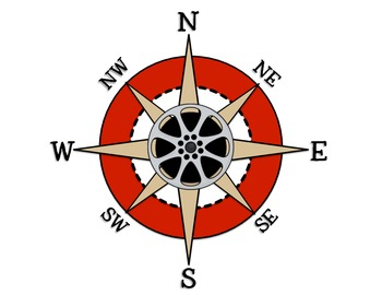 Movie / Cinema Themed Chevron Cardinal Directions and Compass Rose