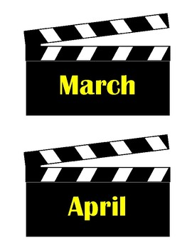 Movie Clapper Month Signs - Hollywood Theme
