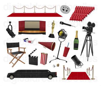 Movie Clip Art Cinema Film Reel Digital Graphics By