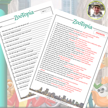 Disney's Zootopia (2016) - Movie Guide Questions + Extras - Answer Key Included