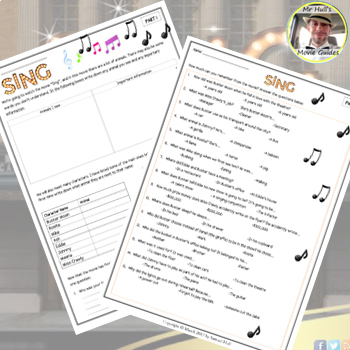 Sing Movie Guide + Extras - Answer Key Included (Color + Black & White)
