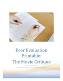 Movie Critic Peer Evaluation Sheet