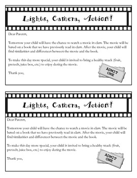Movie Day - Book vs Movie - Parent Letter