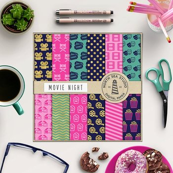 Movie Digital Paper, Cinema Paper, Movie Patterns, Camera, 3D Glasses, Popcorn