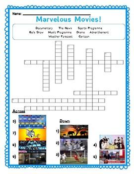 Movie Genres Crossword: Media Literacy Worksheet