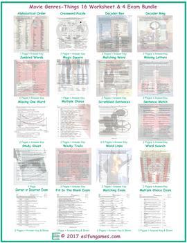Movie Genres-Things 16 Worksheet- 4 Exam Bundle
