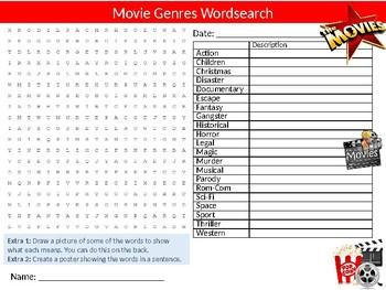 Movie Genres Wordsearch Sheet Starter Activity Keywords Film & Media