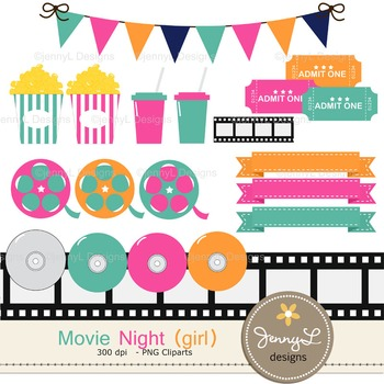 Movie Girl digital paper and clipart