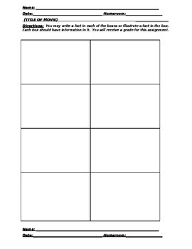 Movie Graphic Organizer Sheet