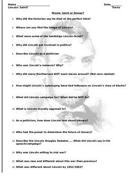 Movie Guide Abraham Lincoln: Sinner or Saint