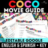 Movie Guide: Coco - for Spanish class (English & Spanish versions with Key)