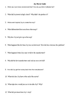Movie Guide Joy (2005) for Business Classes: Handout and Questions