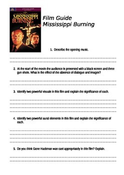movie guide mississippi burning by copy and go tpt movie guide mississippi burning