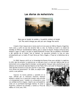 Diarios de Motocicleta (Motorcycle Diaries) Movie Guide: Spanish Version