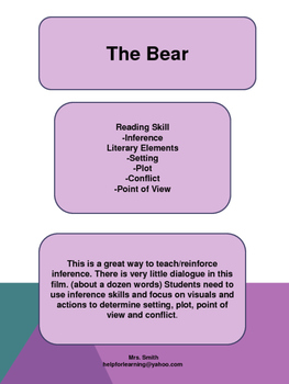 Movie Guide: The Bear-Inference, Plot, Setting, Conflict, Point of View
