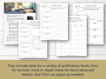 Movie Guides / Graphic Organizers for Spanish Classes #DistanceLearningTpT