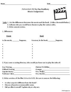 Movie Handouts for the Novel Fahrenheit 451 by Ray Bradbury